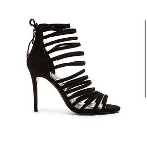 RAYE x Revolve Brielle Black Suede Strappy Heels